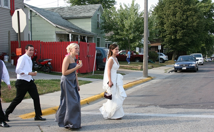 Instead of bar hopping, this bridal party stopped at an Owatonna ice cream shop for sweet treats. I captured this scene as my husband and I were leaving the downtown area.
