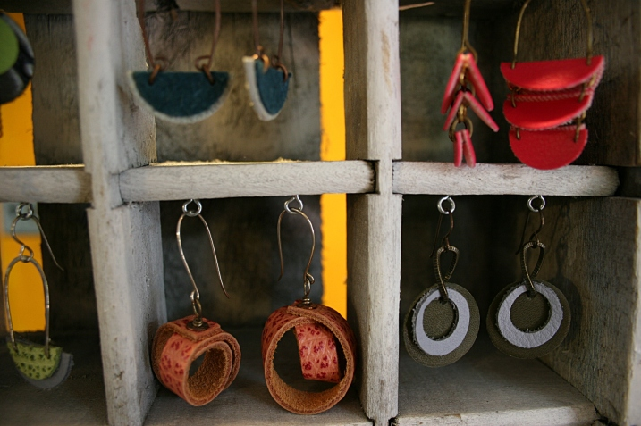 Heather Lawrenz upcycled leather belts into earrings.