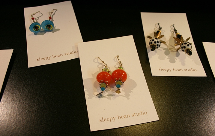 Earrings, featuring handcrafted beads, created by Annie Larson of Sleepy Bean Studio.