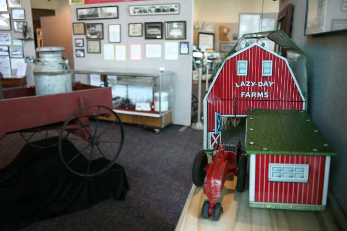 This tin toy barn, right, caught my eye. I've never seen one prior to this. The exhibit also features an incredible handcrafted replica of a barn.