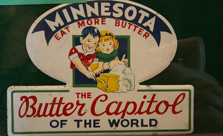 A vintage sign promoting butter in Minnesota.