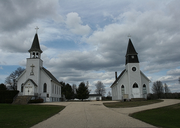 Another shot of the two churches taken in spring 2011.