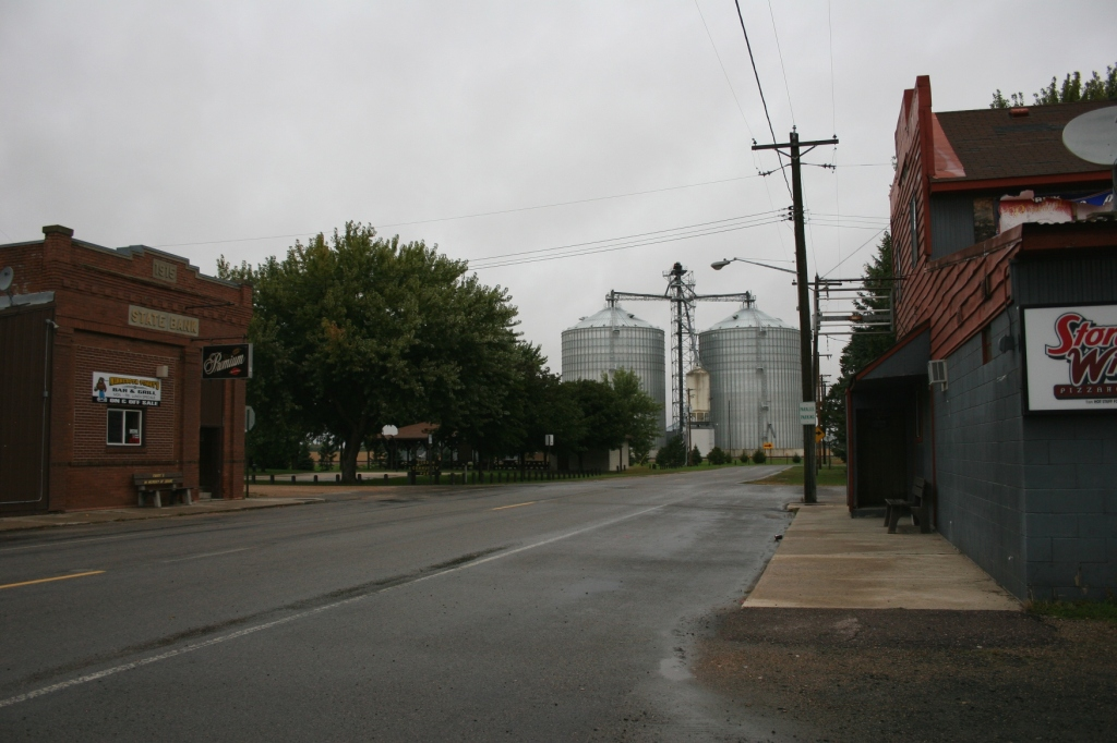 Downtown Cobden with Tubby's to the left and Ridin' High to the right and the grain bins a few blocks away.