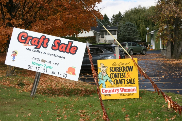 The sign marking the entry to 100 Ladies and Gentlemen Craft Sale near the intersection of Minnesota Highways 56 and 60 just outside of Kenyon.