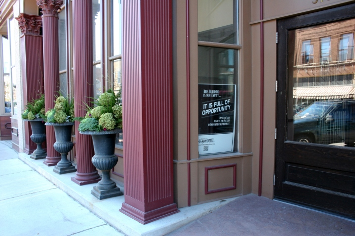The historic Bachrach Building in downtown Faribault was the perfect venue for the wedding couple's vision of their reception. However, about a month before the wedding, I noticed that the flowers in the outside urns were mostly dead or dying. When I mentioned this to Amber, she admonished me to drop the idea of replacing the flowers because she did not want to spend more time and money on this. Because first impressions count, I contacted my floral designer sister. Together we hatched a no-cost easy plan to beautify the urns. I clipped nearly 40 hydrangea from my yard. Lanae brought ornamental kale, curly willow and greens from hers. She transformed the urns into stunning floral masterpieces that impress.