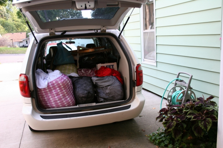 "And all the ""stuff"" that went into creating the envisioned wedding and reception, mostly crammed right there into the back of the bride's parents' van."