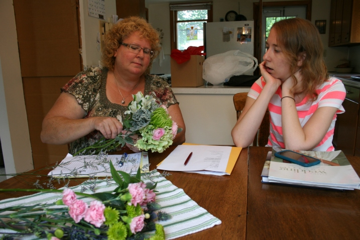 Armed with information Amber had emailed, my floral designer sister, Lanae of Waseca Floral, arrived at our home with fresh flowers and ideas.