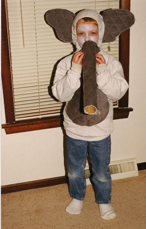 Five years later Caleb headed out the door dressed as an elephant.