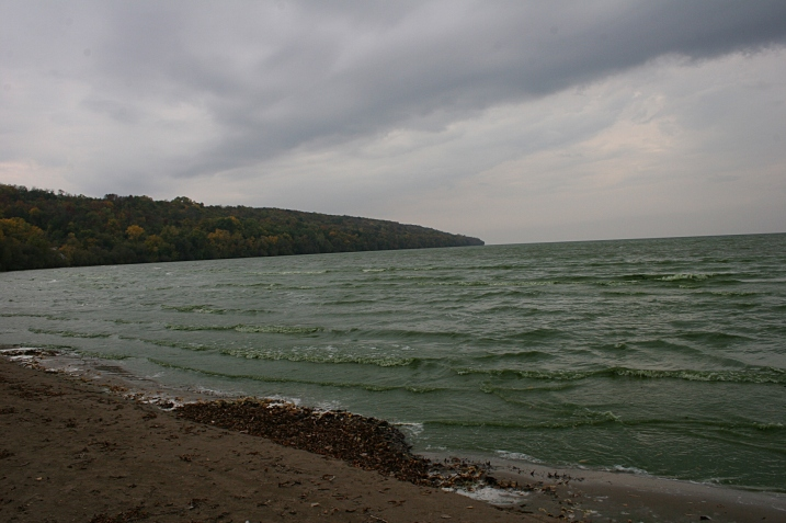 Blue-green Lake Winnebago as photographed from the beach at High Cliff State Park.