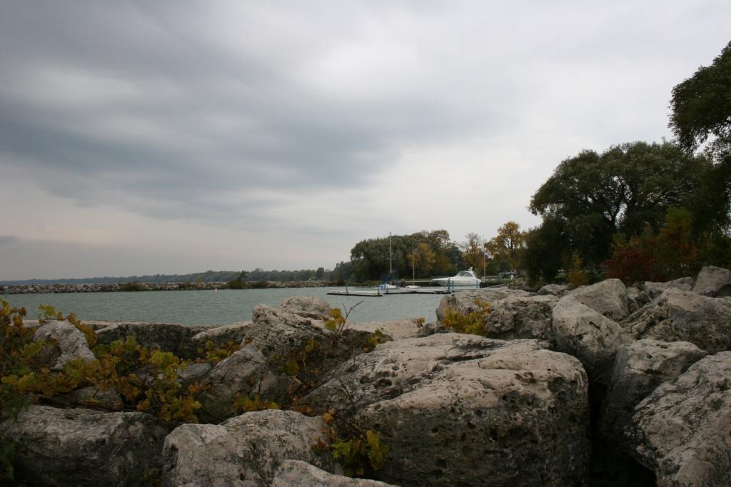 Looking from the rock wall toward the marina.