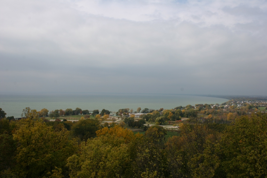 Sky and lake and land meld in this photo taken from atop a tower in High Cliff State Park. Photo by Miranda Helbling.
