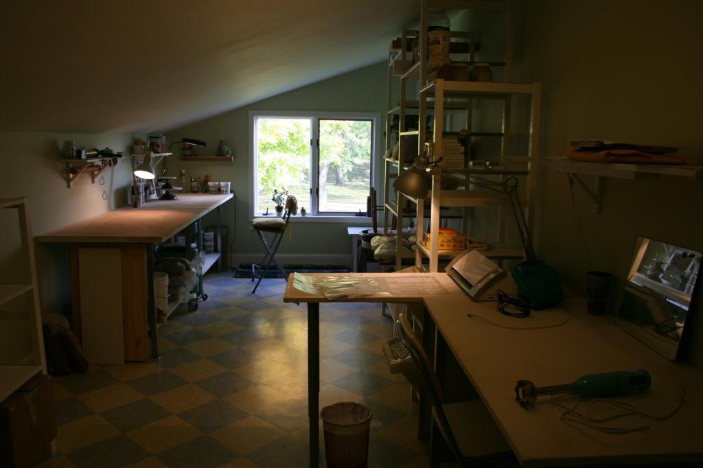 Cerarmic artist's Kip O'Krongly's second floor studio.