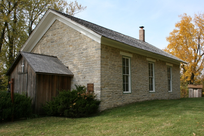 The exterior of the 1865 Lenora United Methodist Church. Minnesota Prairie Roots photo from October 2012.