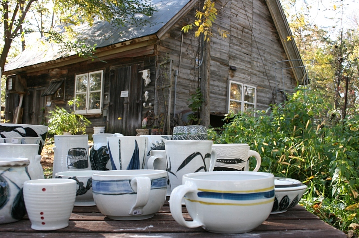 Some of Lessing's ceramics displayed outside The Milkhouse Studio.