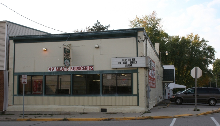 The corner grocery store and meat market.