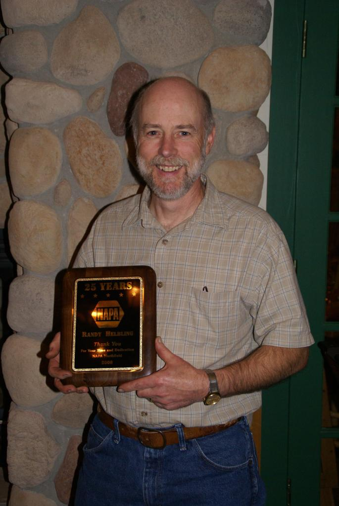 In 2008, Randy was recognized by his employer for 25 years of service to Parts Department, Inc., Northfield. Randy received a plaque, dinner out and a drill.