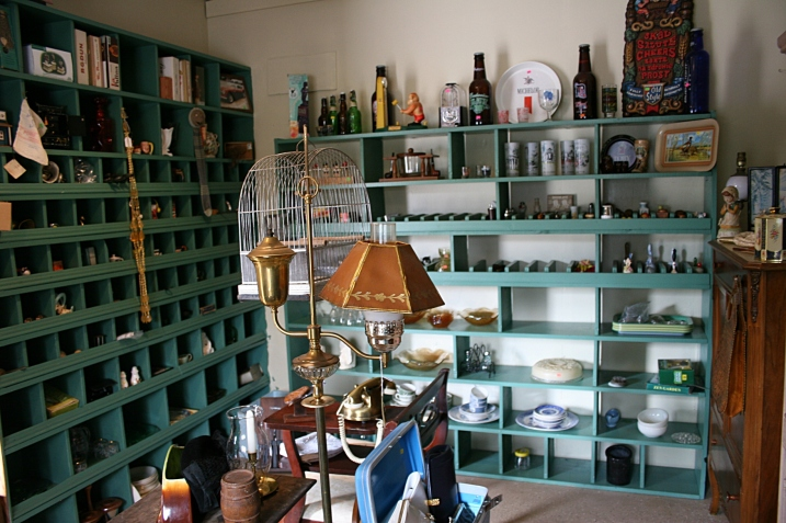 The fabulous reclaimed parts bins now hold antiques and collectibles.