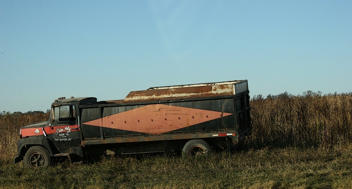 A vintage grain truck rolled out of storage and parked along side a southeastern Minnesota field.