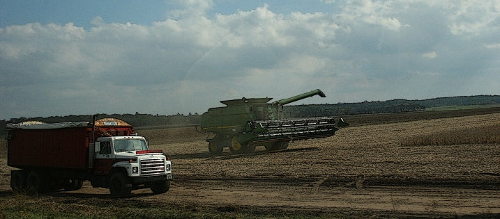 Bringing in the crop along Wisconsin State Highway 21.