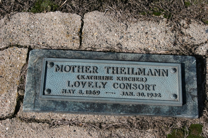 "We walked the cemetery behind he wood-frame church and found numerous Theilman family graves, including this one. It drew my attention for the words, ""lovely consort."""