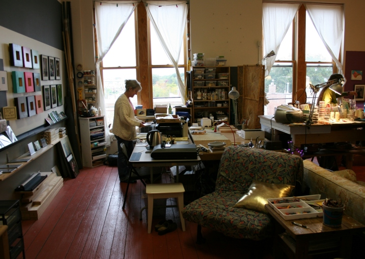 The beautiful studio space of MRG Arts and Full Bloom Beadworks, 101 E. 5th St., Northfield. Maryrose Gondeck is on the left, Sue Hammes-Knopf on the right.