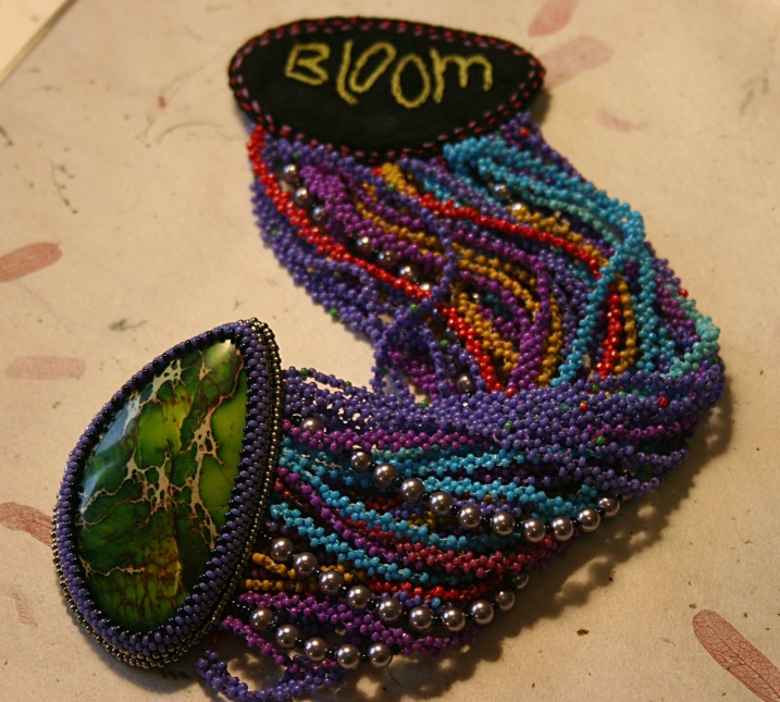 A stunning beaded bracelet created by Sue.