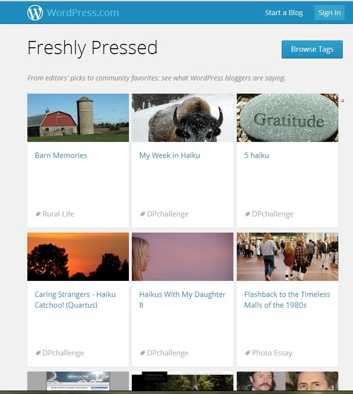 "That's my post, labeled ""Barn Memories,"" featured today on Freshly Pressed."