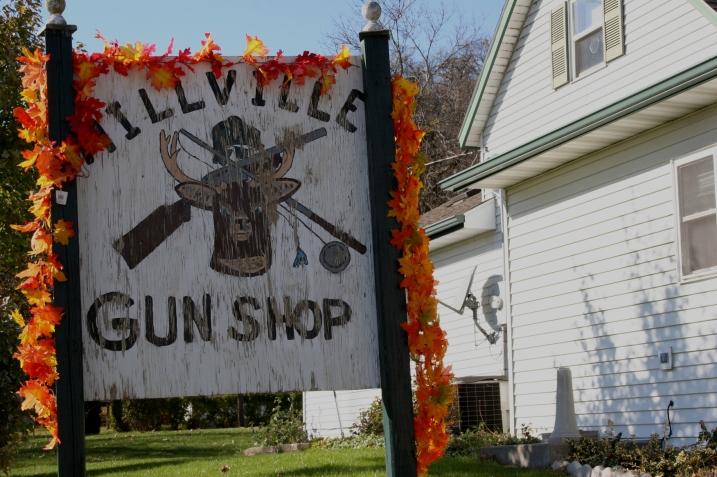 Millville, gun shop sign