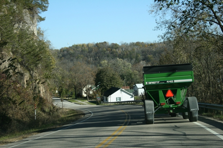 Millville, tractor and wagon entering
