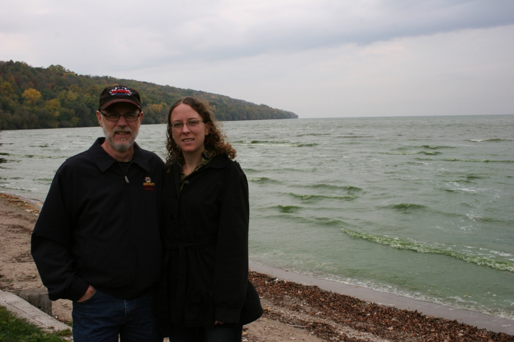Miranda and her dad, along the shore of Lake Winnebago near Appleton, when we last visited in October.