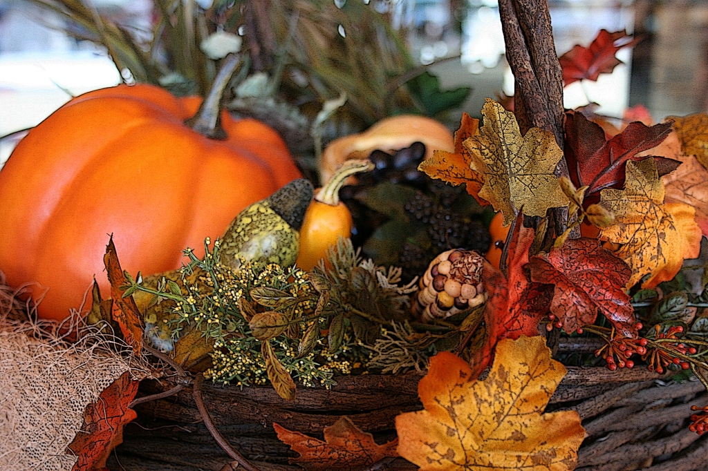 A harvest basket, photographed in the entry to Trinity Lutheran Church, Faribault, Minnesota.