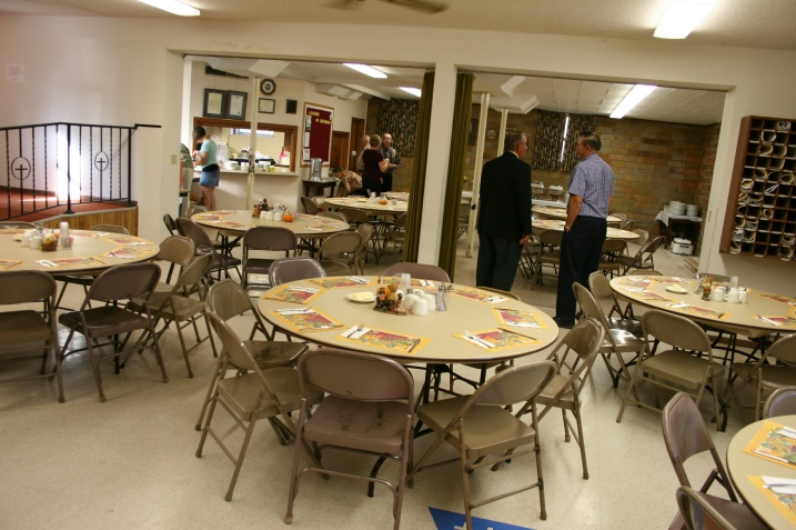 Trinity's basement, set up before the annual October fall dinner. Minnesota Prairie Roots file photo.