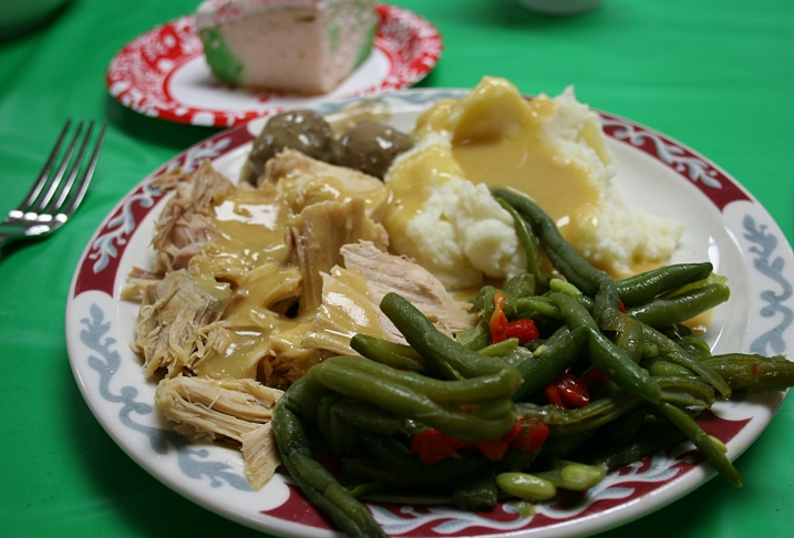 Christmas dinner, plated food