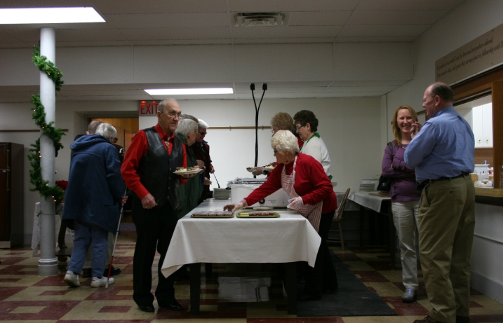 Guests filed through the serving line at the free Community Christmas dinner.