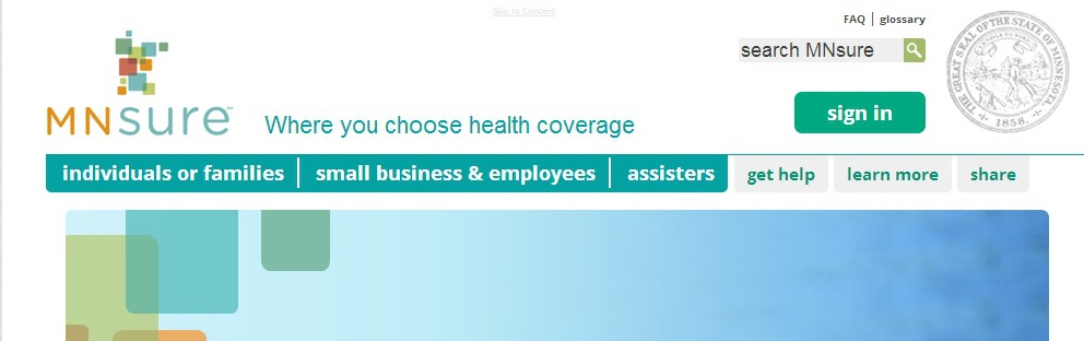 MNSure website edited screen shot