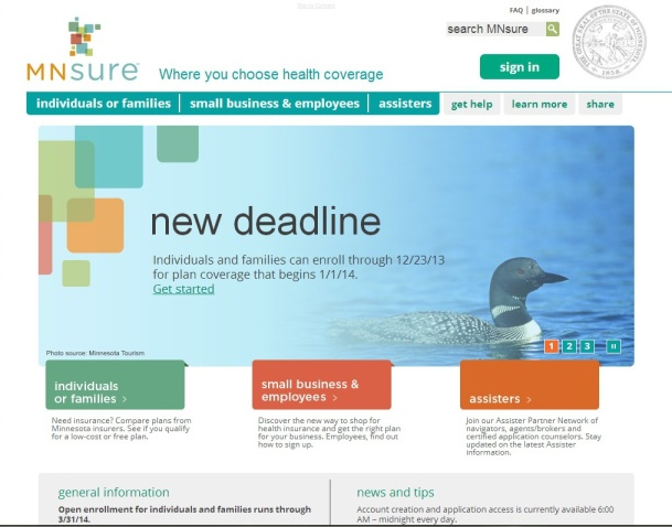A screen shot of the MNsure website.