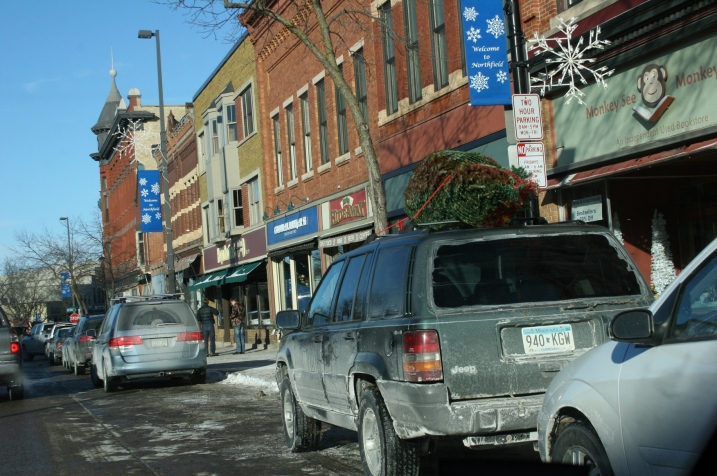 A snippet of Division Street in downtown Northfield shortly before Christmas.