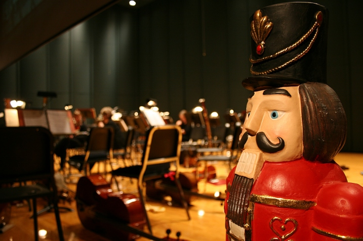 Two nutcrackers were posted on either side of the orchestra.