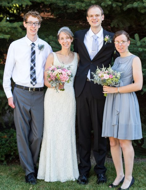 Newlyweds Amber and Marc with Amber's brother, Caleb, and sister, Miranda.