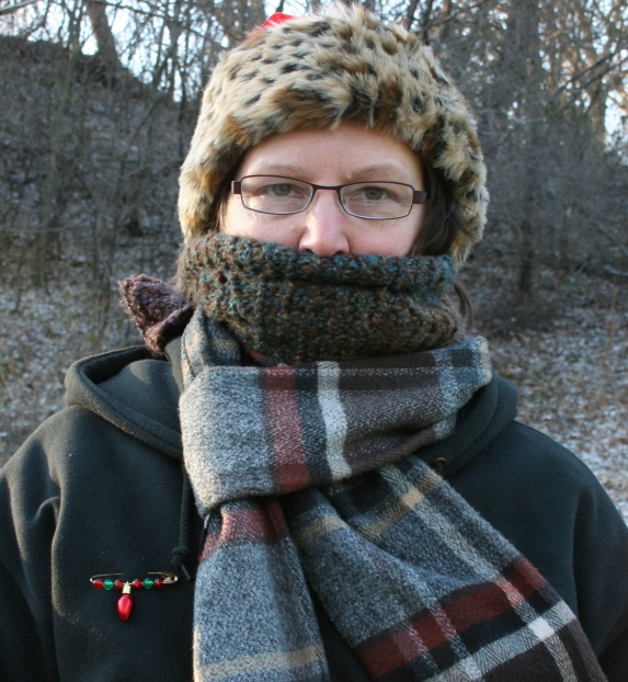 When my cheeks started hurting and flaming red, I added a second scarf.