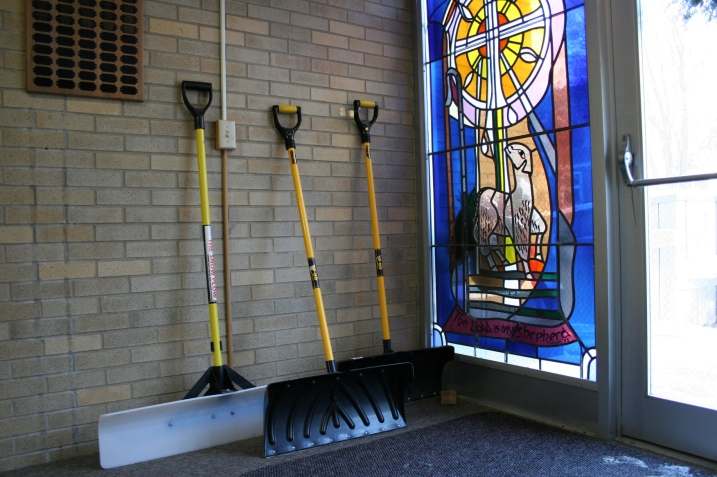 Fourth Avenue United Methodist Church in Faribault is prepared with a trio of snow shovels.