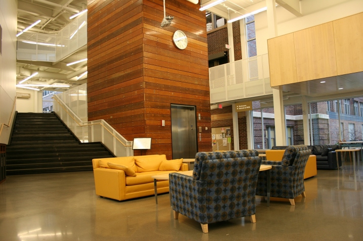 Cozy spots for conversation in the Commons.