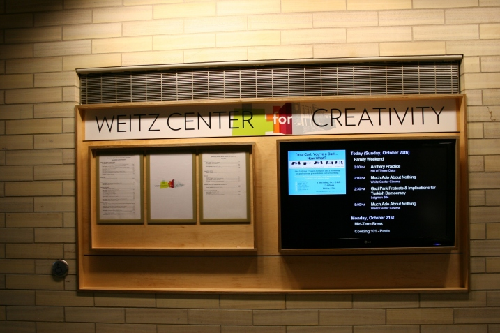 This signage greets visitors upon entering the Weitz Center for Creativity.