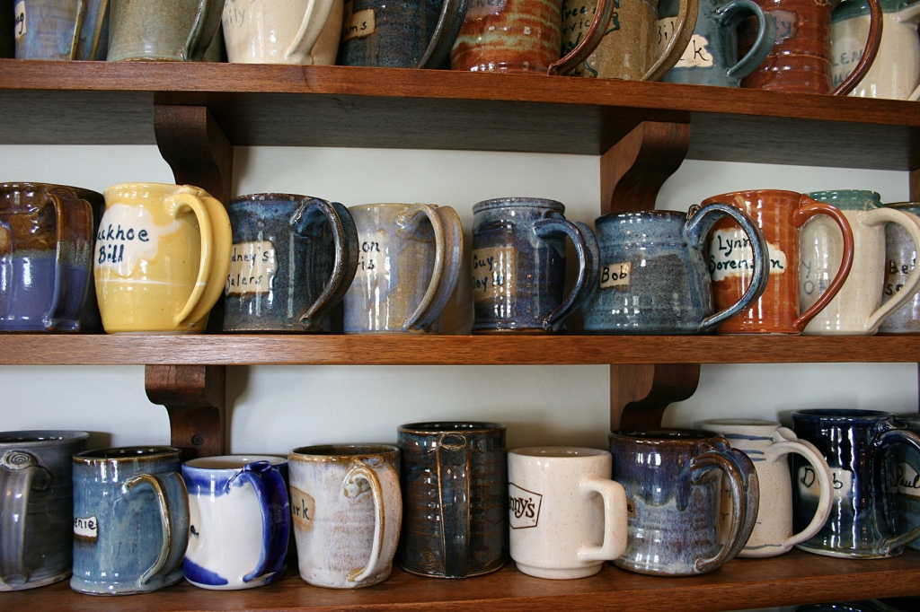 Purchase a personalized homemade mug for $100 entitles you to free coffee.