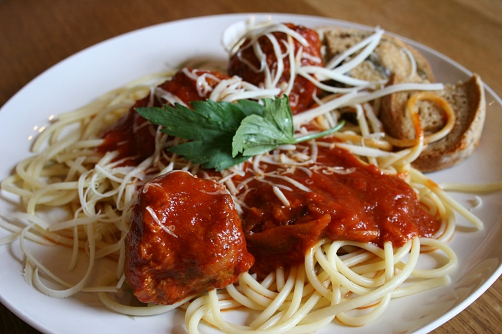 Spaghetti with homemade meatballs and sauce.