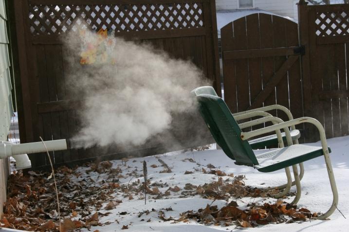 The furnace vents into my backyard.