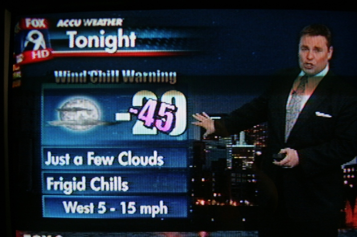 FOX 9 morning news on Monday shows temps and windchiills predicted for Monday evening.