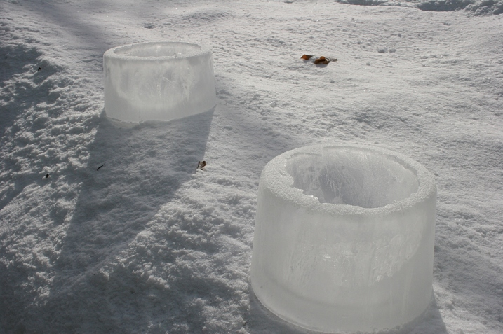 Ice rings created by my husband and in the backyard.