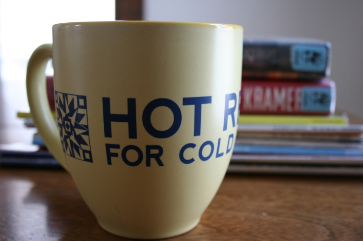 """Every January the regional library system implements its reading incentive, appropriately named """"Hot Reads for Cold Nights."""" My mom gave me this mug, which she got from her library system."""