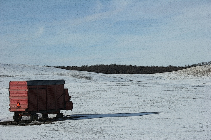 The punctuation of a red wagon and its shadow stretching across the snow draw my attention.
